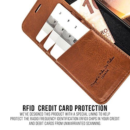 APPLE iPHONE X / iPHONE 10 Étui Portefeuille, QIOTTI Folio Wallet Case avec[ RFID Blocking Protection ] [ Fonction Présentoir ] [ 3 Card Slots ] [ Magnetic Hidden Closure ] [ Faux cuir éco de qualité  COGNAC