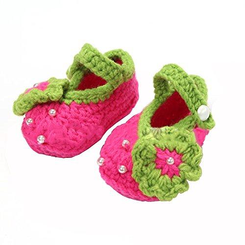 Preisvergleich Produktbild 1 Paar Baby Kleinkinder Schuhe Handarbeit wolle gestrickt häkeln Neugeborenen Kinderstiefel Blumen Schuhe für 0-12 Monate rosige 12 Yard Baby