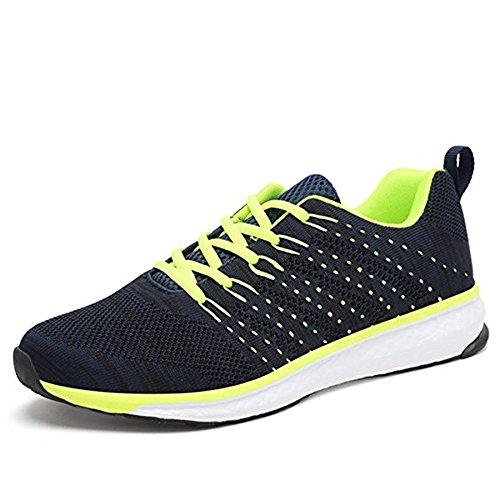 Outdoor Sport Running Schuhe Leicht Schnürer Wander Sneakers Herren Freizeit Straßen Laufschuhe Mesh Atmungsaktiv Fitness Turnschuhe, Blau 45