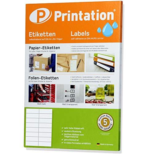 Folien-Etiketten 105 x 37 mm glasklar transparent auf DIN A4 Bogen - 2 x 8 Stück / Seite 160 Sticker 105x37 klar, selbstklebend mit Laser Drucker bedruckbar