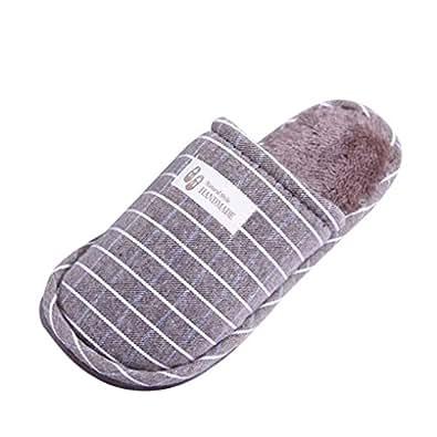 Ciabatte in cotone, Longra Pattini caldi del cotone domestico antisdrucciolevole di modello della striscia di inverno degli uomini e delle donne (EU Size:41-42, caff��)