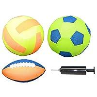 4pezzi in PVC Materiale di poliestere con rivestimento in rete, Super leggero, particolarmente flessibile con alta qualità di rimbalzo calcio Ø 22cm, Volley Ball Ø 22cm, palla da rugby lunghezza: 22cmballpumpe in plastica, lunghezza 14,5...
