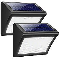 Luces Solares Exterior, Trswyop 60 LED [2 Paquetes] Luz Solar con Sensor Movimiento 1800mAh Wireless Lámpara Solar Impermeables Focos Solares, Luces de Pared Solares Seguras con 3 Modos Para Pared