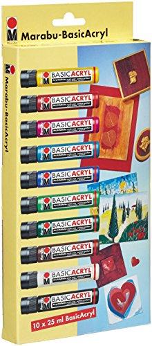Marabu 1200000000082 - Basic Acryl Set, hochwertige, seidenmatte Acrylfarbe, Wasserbasis, 10 x 25 ml in gelb, karminrot, magenta, cyan, mittelblau, saftgrün, tannengrün, mittelbraun, weiß und schwarz -