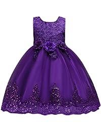12157e3b8 ️Vestido Niñas de Tul Flores Princesa Boda Vestido Sin Mangas para Bebé Niña  Lonshell ❤️Vestido de Elegante Boda Fiesta Vestidos…