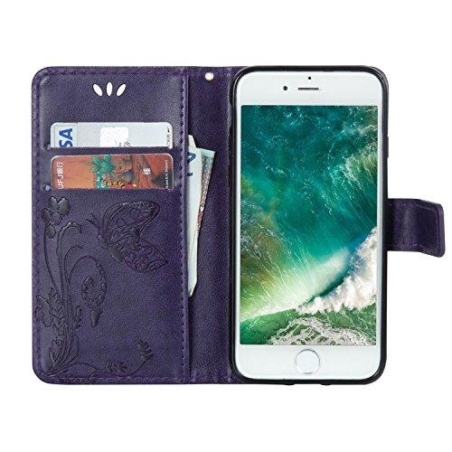 iPhone 7 Hülle Lila 3D Mariposa Gras PU Leder Wallet Handytasche Flip Etui Schutz Tasche mit Integrierten Card Kartensteckplätzen und Ständer Funktion Für Apple iPhone 7 + Zwei Geschenk schwarz