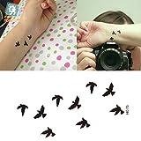 EROSPA® Tattoo-Bogen temporär - Aufkleber Vögel / Birds schwarz 10,5 x 6 cm