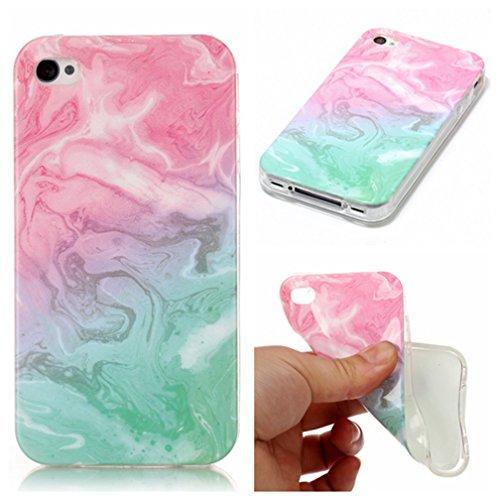 Coque iPhone 4/4S XiaoXiMi Étui de Texture en Marbre Housse Souple de Protection Soft Slim Case Étui en TPU Gel Silicone Coque Flexible Lisse Etui Ultra Mince Poids Léger Housse Anti Rayure Anti Choc- Vert Rose