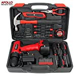 Apollo 26pc Household Cordless Power Drill Tool Kit Including 12V Drill Driver with 800 mAh Ni-MH Rechargeable Battery, 16 Position Keyless Torque Clutch, Variable Speed Switch, Drill & Screwdriver Accessory Set & 25pc Most Reached for Hand Tools including Heavy Duty 370g Hammer – all in Sturdy Storage Box