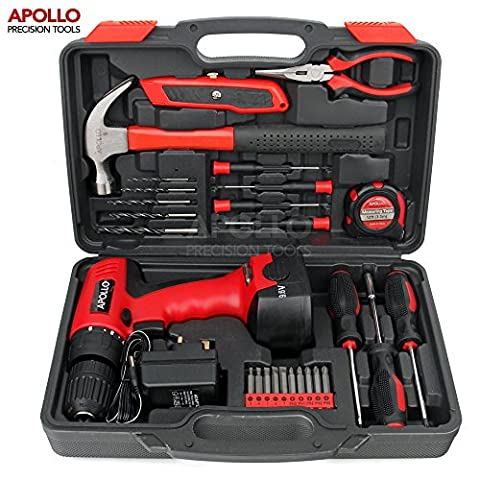 Apollo 26pc Household Cordless Power Drill Tool Kit Including 12V Drill Driver with 800 mAh Ni-MH Rechargeable Battery, 16 Position Keyless Torque Clutch, Variable Speed Switch, Drill & Screwdriver Accessory Set & 25pc Most Reached for Hand Tools including Heavy Duty 370g Hammer – all in Sturdy Storage