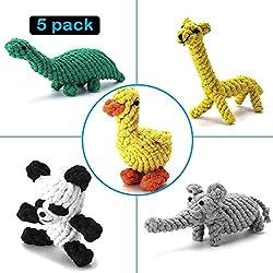 Hundespielzeug Set, Focuspet Haustier Hund Geflochten Seil Spielzeug Set Hund Spielzeug Interaktive Baumwolle Zähne Reinigung Für Kleine Bis Mittlere Hunde Kauspielzeug Packung mit 5 Stücke