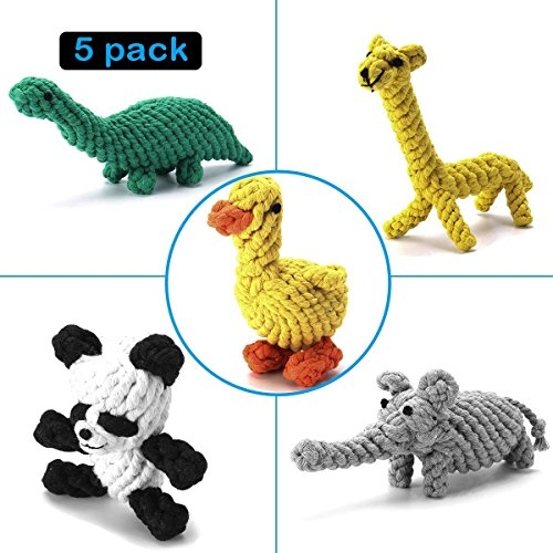 Focuspet Hundespielzeug Set, Haustier Hund Geflochten Seil Spielzeug Set Hund Spielzeug Interaktive Baumwolle Zähne Reinigung Für Kleine Bis Mittlere Hunde Kauspielzeug Packung mit 5 Stücke