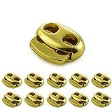 SET edle Metall - Kordel-Stopper / Kordel-Klemme (Doppellochung) für Seile, Jacken uvm. Aus Metall, Marke: Ganzoo (10er SET, Gold)