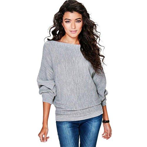 Pullover Damen Btruely Herbst Winter Mädchen Gestrickt Sweatshirt Casual Lose Top (S, Grau) (Pullover Gestreifte Gestrickte)
