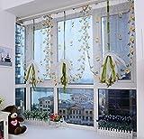 Yiyida Vorhang Voile Transparent Vorhänge Wohnzimmer Bestickt Raffrollos 80x200 cm 2er Pack