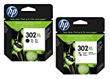 1x Set Original XL HP Tintenpatrone F6U68AE F6U67AE HP 302XL HP 302 XL für HP Officejet 4650 - BLACK + Color - Leistung: BK ca. 480 / Color ca. 330 Seiten/5%