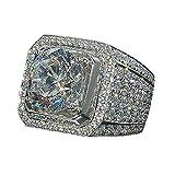 wuayi Ring für Damen und Herren, Brillantschliff, natürlich, weißer Saphir, Diamant, für Kleider, Dekoration, Hochzeit, Schmuck, Geschenk, günstig 8# silber