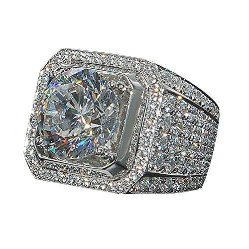 wuayi Ring für Damen und Herren, Brillantschliff, natürlich, weißer Saphir, Diamant, für Kleider, Dekoration, Hochzeit, Schmuck, Geschenk, günstig 8# silber (8 Günstige Verlobungsringe Größe)