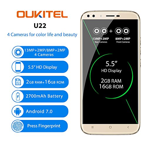"OUKITEL U22 - 5,5"" 3G Smartphones Libres, Android 7,0 Quad Core 2 GB+16 GB, 4 Cámaras, Posterior 13.0MP+2.0MP, Front 8.0MP+2.0MP, SIM Dual, Oro Teléfono Móvil"