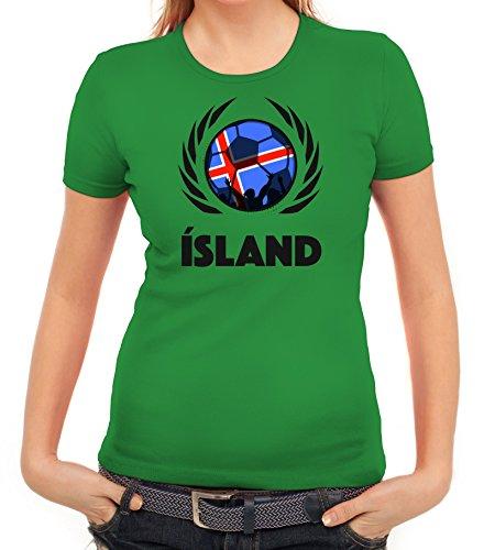 ShirtStreet Iceland Wappen Soccer Fussball WM Fanfest Gruppen Fan Wappen Damen T-Shirt Fußball Island Kelly Green