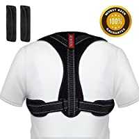 Posture Corrector, Acdyion Spinal Support Back Support Belt Adjustable Size Straight Strap for Men or Women Physical Trainer Therapy - Back, Shoulder, and Neck Pain Relief (Black, L/XL:39″-47″)