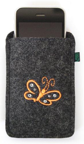 Feltro per iphone 4/s, 3, antracite, farfalla, ricamato, decorato con cristalli swarovski; stickfarbe orange