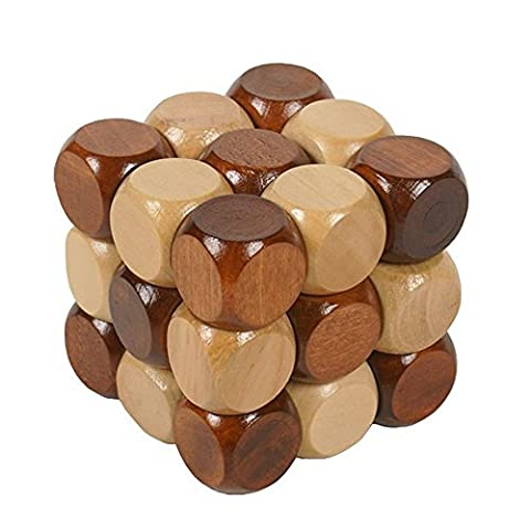 Shayson Oxford Wood Made 3D Brain Teasers Cube Puzzles Interlocking Jigsaw Puzzles Game Toy for Kids Teens Adults Gifts