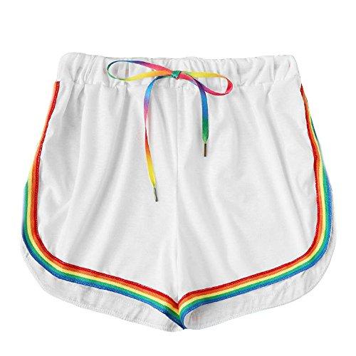 HCFKJ High Waist Shorts für Damen Teenager Mädchen Sommer für Mädchen Frauen Tasche Lose Hot Pants Retro-Streifen Casual Fit elastische Taille Tasche Shorts (M, Weiß #1) -