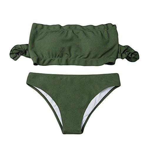 Frauen Bikini Set Push-Up gepolsterte Bademode Bandage Solid Wrapped Brust Badeanzug