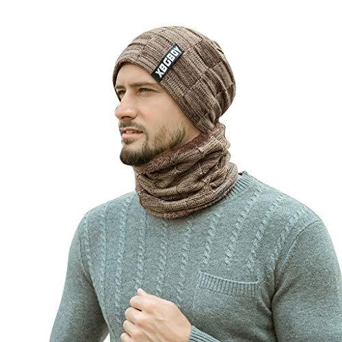 jfhrfged Unisex Herbst Winter Hut Windshield Stretch Turban Hut Wolle Stricken Haarausfall Kopftuch Wrap (Khaki) Stretch-hut