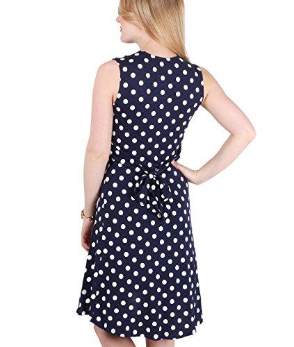KRISP® Femmes Robe Portefeuille à Pois Noeud Torsadé Collection Maternité Bleu Marine