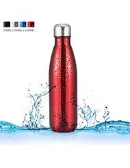 Botella de Agua de Acero Inoxidable Portátil Botella Aislada al Vacío Botella Térmicapara para Deportes Al Aire Libre Camping Senderismo Picnic Ciclismo ( Capacity : 350ML , Color : Rojo )