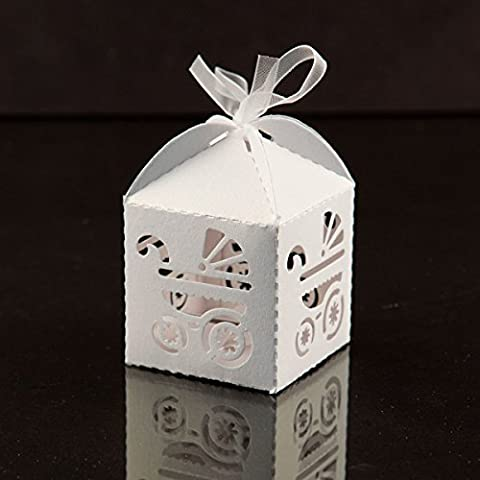 KAZIPA 50PCS Laser Cut Favour Boxes with Ribbons, Gift Boxes for Baby Shower Party Favor (White)