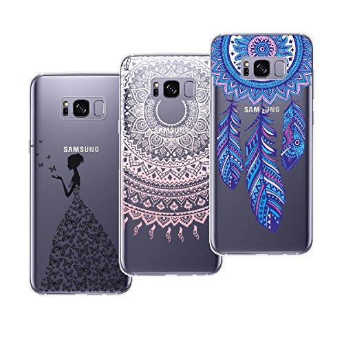 Yokata [3 Packs] Kompatibel mit Hülle Samsung Galaxy S8 Plus Silikon Transparent Durchsichtig Handyhülle Schutzhülle TPU Dünn Slim Kratzfest mit Motiv - Mandala + Feder + Mädchen und Schmetterling