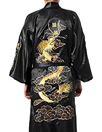Bata de baño estilo Kimono con dragón bordado, Yukata Hakma clásico