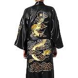 Seda albornoz Kimono Albornoz Yukata de bordado de dragón Hakma Vintage