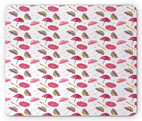 SHAQ Umbrella Mouse Pad Mauspads, Bubble Shaped Colorful Striped and Pink Colored Floral Different Umbrellas Print, Standard Size Rectangle Non-Slip Rubber Mousepad, Multicolor - Floral Print Bubble