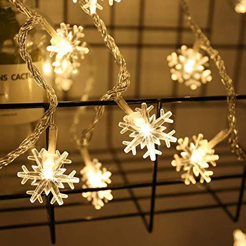 V-RULE LED Lichterkette Warmweiß Schnee Lichterkette Batterie für Weihnachtsdeko Tannenbaum innen kinderzimmer,6M 40 LEDs
