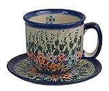 Traditionelle Polnische Keramik, handgefertigte Tassen, eine keramische Kafeetasse und Untertasse mit Muster im Bunzlauer Stil (275 ml), F.201.DAISY