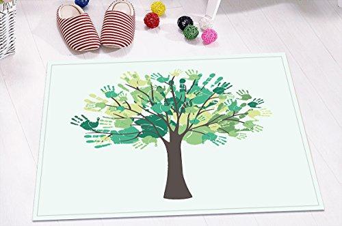 Handabdruck,Baum,Weiß,Grün_Dekor Badematte Rutschfeste Anti Schimmel Waschbar Weiche Dusche Teppich,40X60 CM (Handabdrücke Teppich)