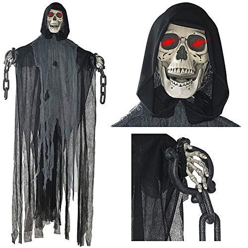 Prextex 152cm animierter hängender Grim Reaper mit Schädel -