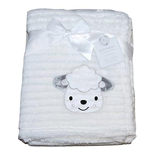 Baby-Girl-Boy-Unisex-Soft-Fleece-Wrap-Blanket-Pram-Cot-Crib-Moses-Basket-White