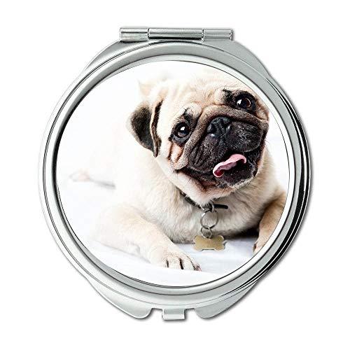 Specchio specchio per il trucco cane Terrier Yorkie Dog vodafone specchio tascabile 1 ingrandimento X 2X