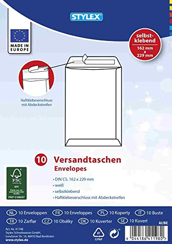 Preisvergleich Produktbild Stylex 41198 Versandtasche C5 10 Stück, weiß