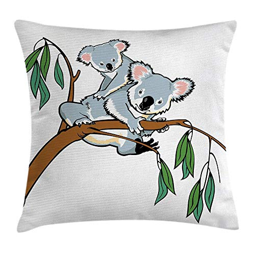 Tropical Animals Throw Pillow Cushion Cover, Mother and Baby Koala Climbing Over Eucalyptus Tree Branch Wildlife Forest, Decorative Square Accent Pillow Case, Grey Brown24 Patterned Magnolia Branch