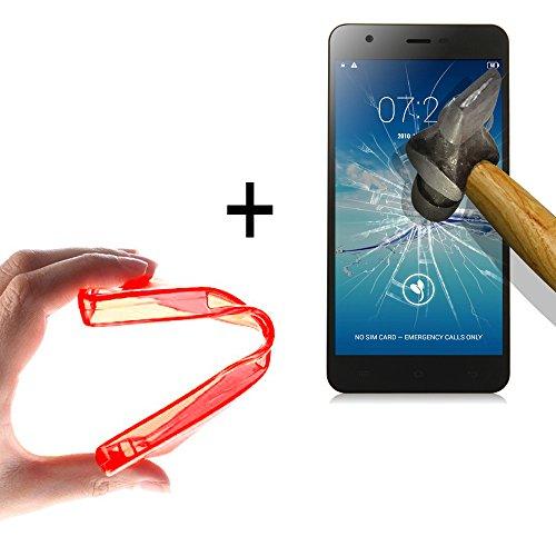 WoowCase | Flexible Gel Schutzhülle für [ Jiayu S3 ] [ +1 Schutzglas ] Hartglas, Jiayu S3 Hülle Case TPU Silikon in Rot