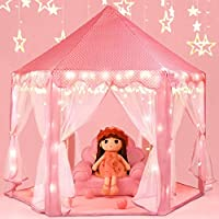 ‏‪SooFam Princess Tent Girls Large Playhouse Kids Castle Play Tent with Star Lights Toy for Children Indoor and Outdoor Games, 55'' x 53'' (DxH)‬‏