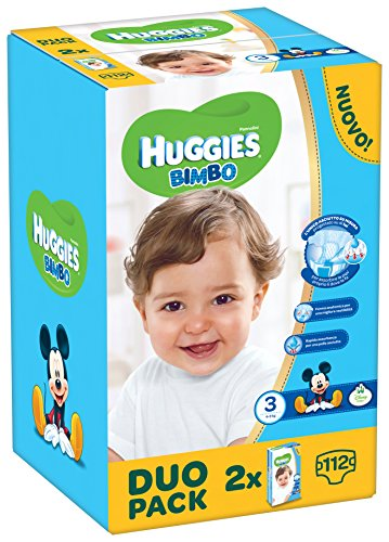 Huggies Bimbo, Taglia 3 (4-9 kg), 2 confezioni da 56 [112 Pannolini]