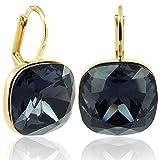 Ohrringe mit Kristalle von Swarovski Schwarz Gold NOBEL SCHMUCK