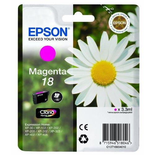 Preisvergleich Produktbild 1x Original Tintenpatrone für Epson Expression Home XP 425, C13T18034010 - Magenta -